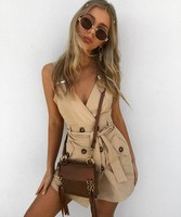 2019 Fashion Women Button Casual Dress Solid Sleeveless Mini Dress Party Belt Tie Sexy Dress