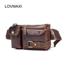 лучшая цена LOVMAXI Genuine Leather Waist Packs Belt Men Waist Bags Fanny Pack Belt Bags Phone Pouch Travel Male Small Bag Leather Pouch Bag