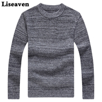 Liseaven Men Winter Pullover Sweater Solid Color Male Sweaters O Neck Pullovers For Men