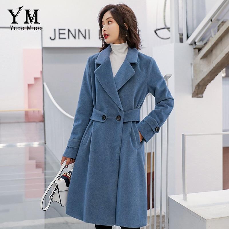 Yuoomuoo Casaco D'automne rose Taille Hiver Bleu Grande gris Élégant Haute Européen Laine Feminino Dames De Qualité Longue Femmes Manteau Veste Style r1rfwSq