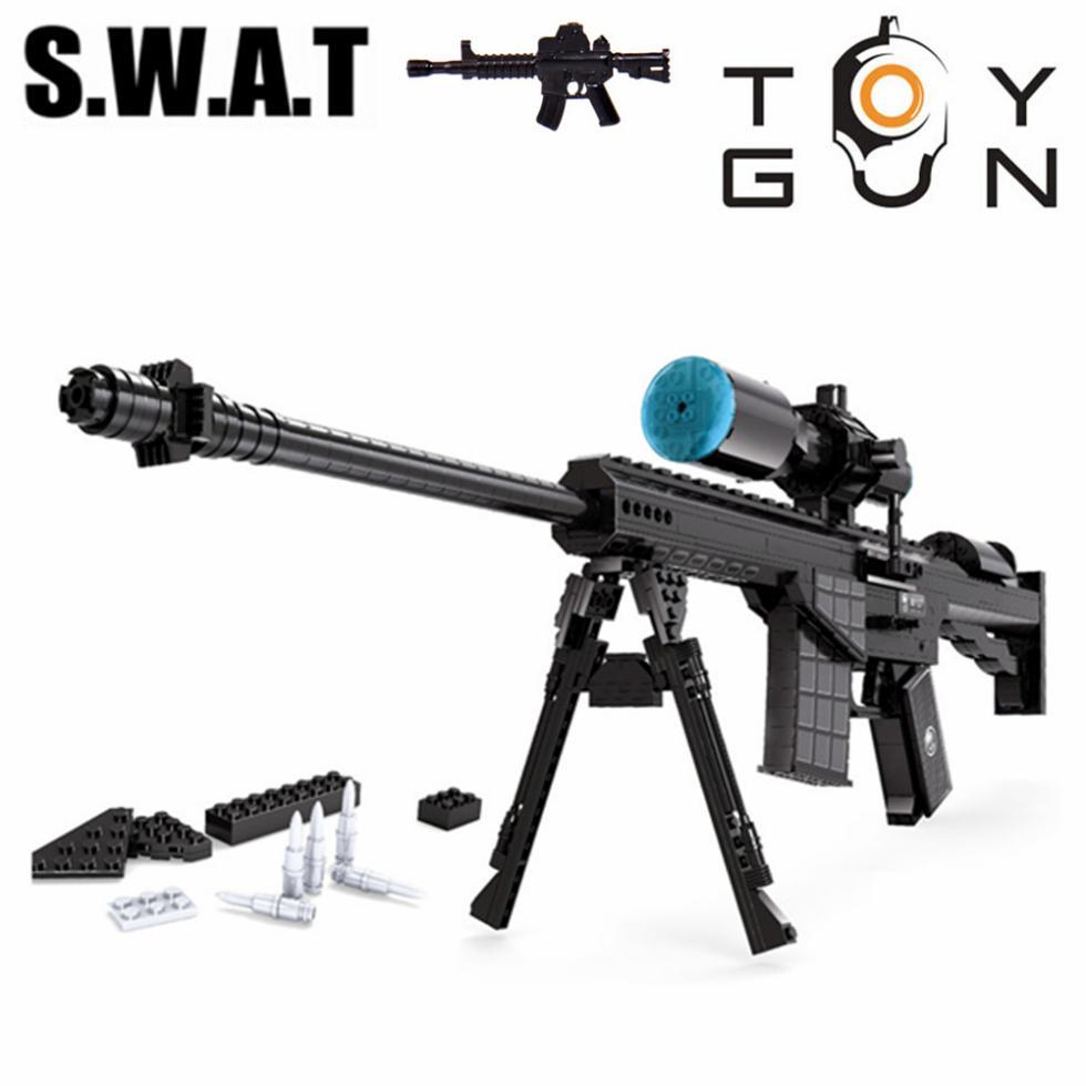 ФОТО ausini swat city 527pcs m107 sniper assault rifle gun weapon arms model 1:1 diy building blocks bricks children kids toys gifts