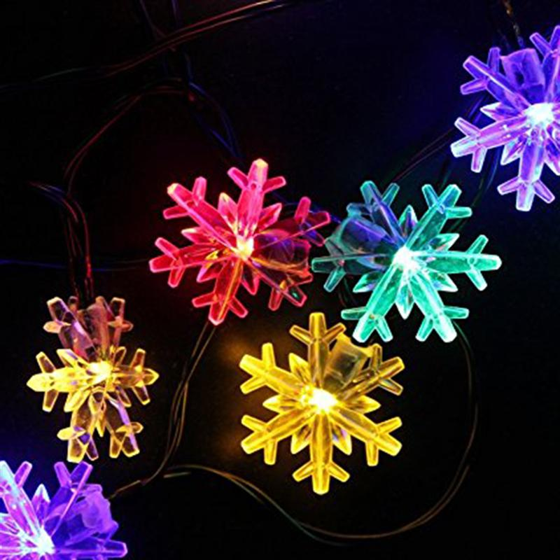 6.5m 30 LED Snowflake Solar String Lights Waterproof Fairy Light String Christmas Home Party Bedroom Ornament with Solar Panel