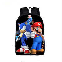 Anime Character Mario Sonic Printing Backpacks For Teenager Girls Boys School Bags Super Funny Toddlers School