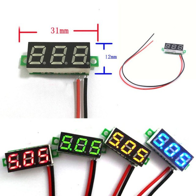 dc 0 30v 2 wire led display digital voltage voltmeter panel car rh aliexpress com voltmeter wiring diagram for motorcycle Hot Rod Wiring For Dummies