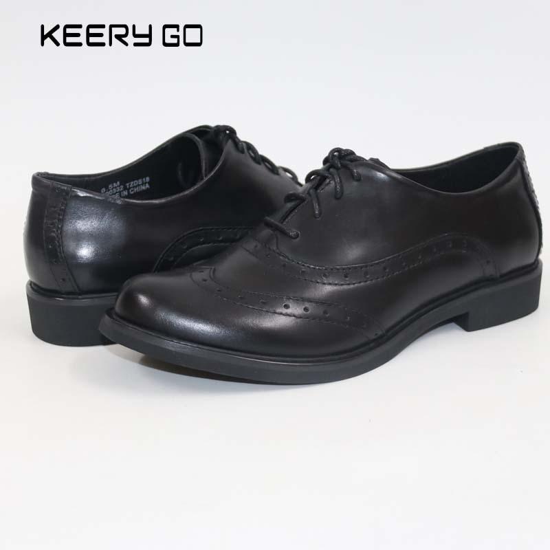 Keerygo 여성 신발, 내부 및 외부 전체 가죽 레이스 가죽 신발, 편안한 피트 큰 신발-에서여성용 플랫부터 신발 의  그룹 1