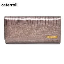 genuine leather wallet women luxury brand ladies wallets and purses alligator pattern money bag long real leather purse