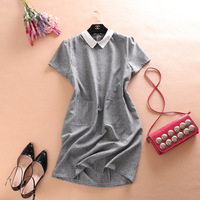 Vadim Cotton Fit And Flare Striped Short Ankle Length Regular Natural Autumn New Real Vestido De