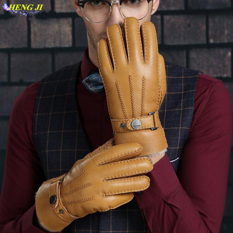 The new 2017 fur leather gloves integrated male hair thickening warm ski points to every wind high quality sheepskin gloves