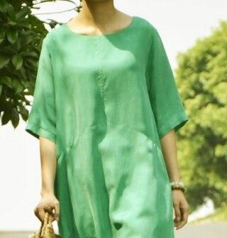 Удобные и дышащие летние блокбастер меди аммиака шелковое платье свободные большие размеры с двойной Платье с карманом 18059-1 - Цвет: Зеленый