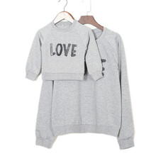 2017 Fashion Family Hooded Outfit Clothes Couple T-shirt Love Mother Son Daughter Matching Shirts