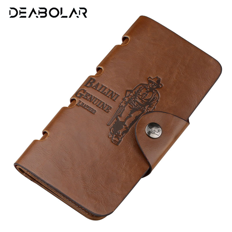 Hot Promotion Classic Vintage Man Hasp Hunter Cowboy Bailini Brand Long Leather Wallet Man Purse Card