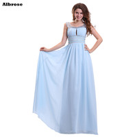 Light Blue Chiffon Bridesmaid Dresses Sequined Beaded Crystal Bridesmaid Dress Long Formal Party Gowns Chic Vestido