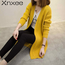 Hot Autumn Women Knit Cardigans Coat Knitted Sweater Winter Lose Open Stitch Solid Cardigans V-neck Sweater Coat Long Sleeves недорого