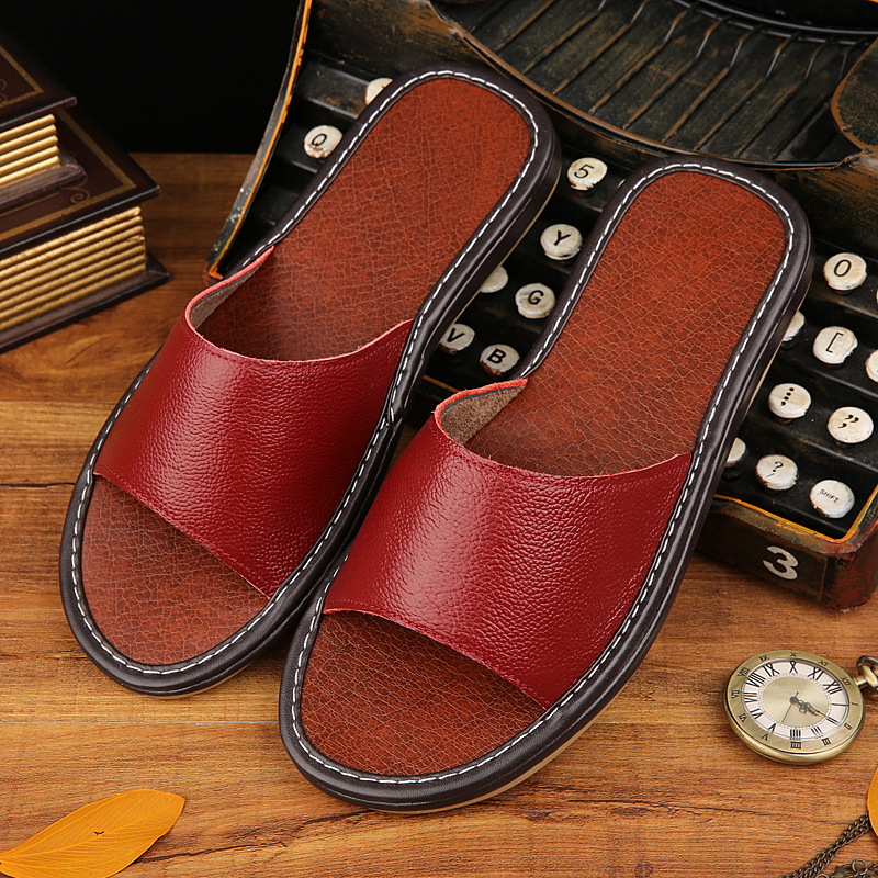 STONE VILLAGE High Quality Plus Size 35-44 Genuine Leather Slippers Shoes Couple Slippers Summer Indoor Home Slippers Women