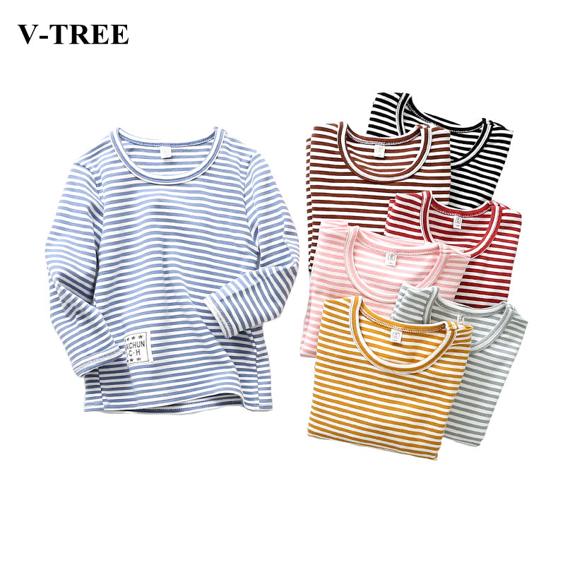 V-TREE Boys Shirts Long Sleeve Brand T-shirts For Girls Cotton Children Tops Boy T-shirt Striped Kids Tee Baby Clothing autumn winter casual baby girls boys children clothing boys infants striped cotton long sleeve t shirt tops tee
