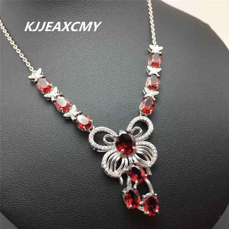 KJJEAXCMY boutique jewelry, Natural garnet female Necklace Pendant pendant jewelry wholesale S925 Sterling Silver the new cat cat 925 sterling silver garnet necklace pendant jewelry wholesale brand ethnic fashion