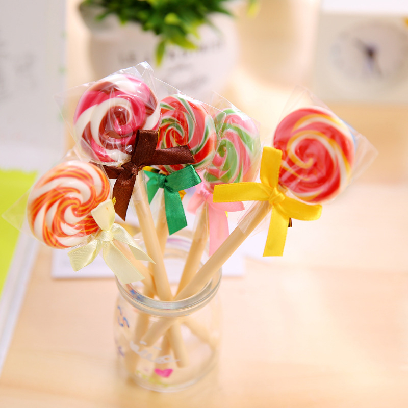 1 Piece Kawaii School Supply Office Stationery Ballpoint Pen Handles Creative Cute Gift Lollipop Sweet Candy Freebie Styling in Ballpoint Pens from Office School Supplies
