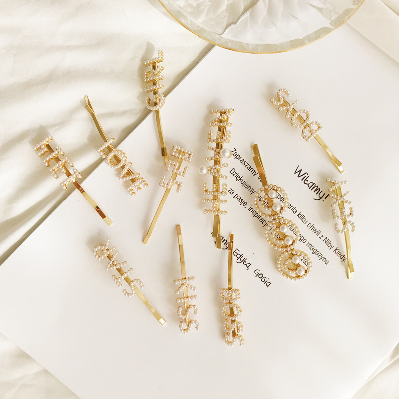 Hot Sale Women Girls Fashion Elegant Pearl Hair Clips alloy Hairpins Female Styling Accessories F013