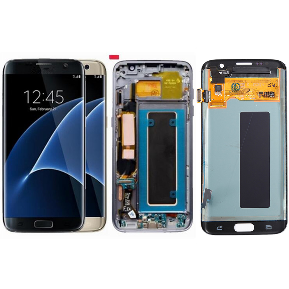 5.5 pouces AMOLED pour Samsung Galaxy S7 Edge G935 G935F écran LCD et numériseur assemblée avec remplacement du boîtier avant