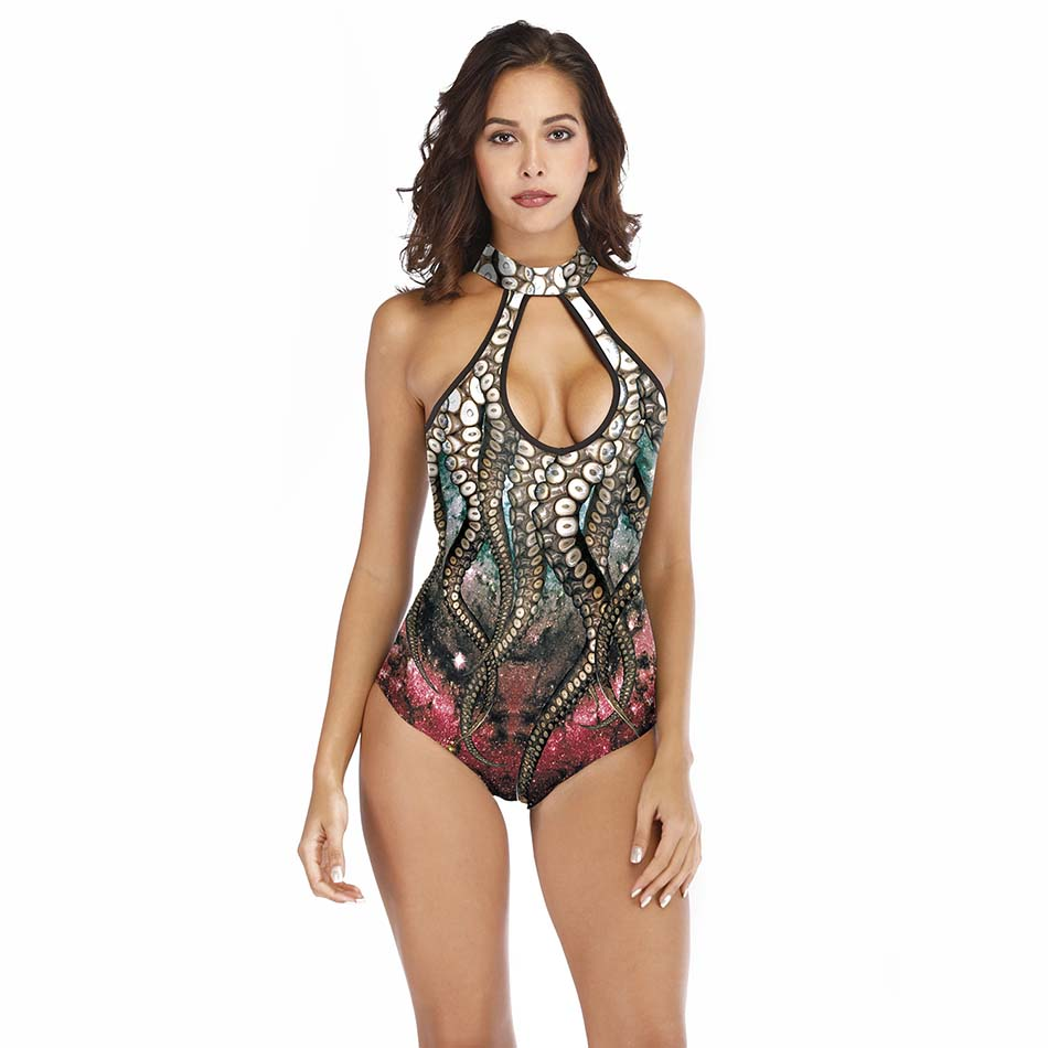 2019 Hot Swimsuit Ladies Sexy One Piece Bathing Suit Bikini 3d Printed Octopus Swimwear Colorful Beach Wear With Chest Pad