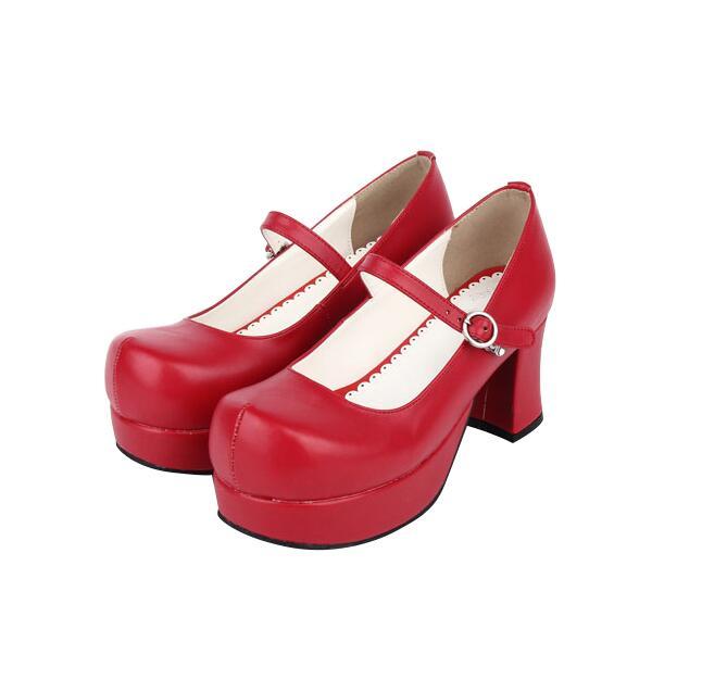 Mujeres Lolita Impresión Zapatos Angelical A 7 wine brown Mano Cosplay Flock Bombas Cm 5 Black Hecho Del 47 Vestido 33 Mujer Mori Tacones Red black Princesa Señora Partido Chica Pu Altos HH6r0nzW