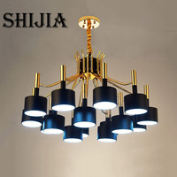 European Style 12 15 Arm Black White Lampshade Nordic New Design Chandelier Lighting For Parlor Restaurant