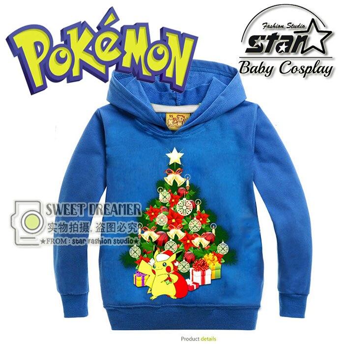 Christmas Gift Winter Sweatshirt Cotton Cartoon POKEMON GO Pikachu Kids Boys Girls Clothes Long Sleeve Fashion Causal Hoodies