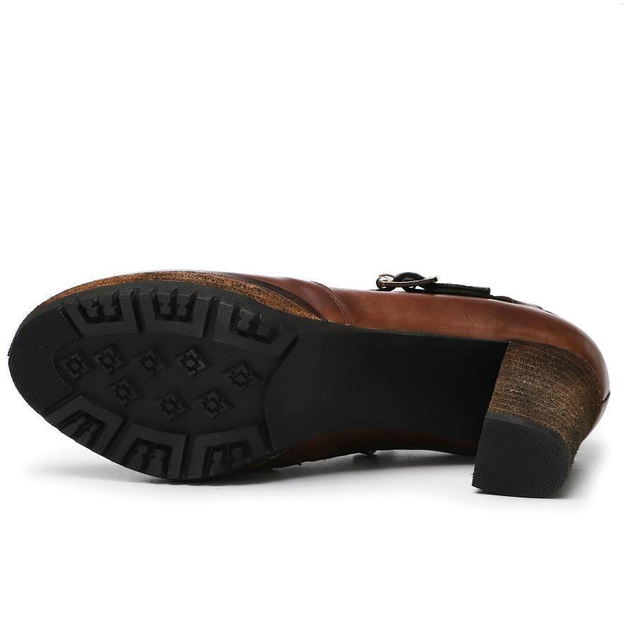 2018 Casual Boucle Mode Véritable Femmes Mujer Pompes Talons Chaussures Femme Zapatos Brown Cuir De En Ceinture Haute Brun Carrés fnYf8rBxp