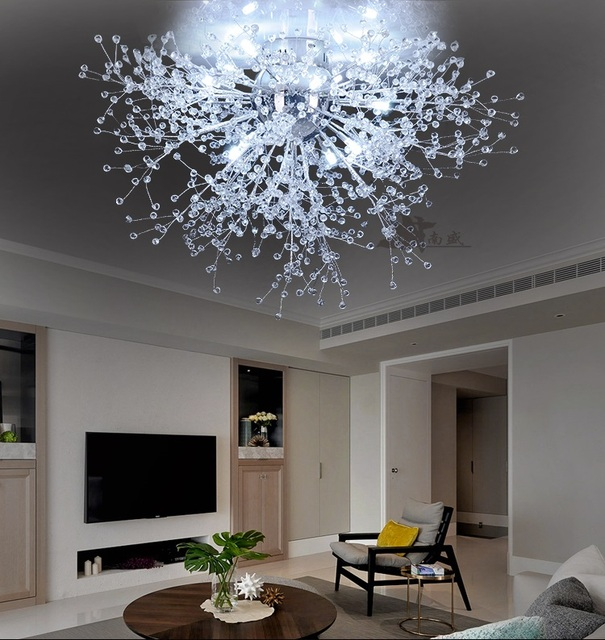 Modern Dandelion LED Flush Mount Ceiling Light Clear Crystal Lamp - Flush mount ceiling lights for kitchen