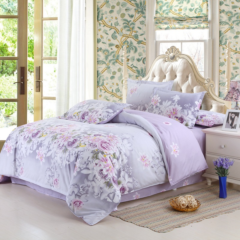 Classic Home Textile Comforter Bedding Sets Family Set Bed Sheet Room Decoration Flowers Printing Bedspread Pillowcase 4pcs/set 紫花 柄 布団 カバー