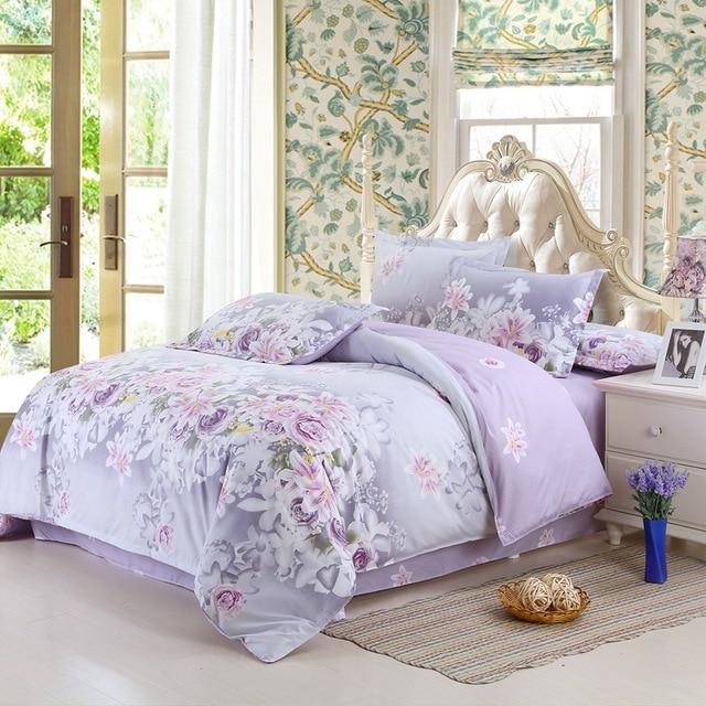 Классический домашний текстиль Одеяло Постельные принадлежности наборы Семейный комплект простыня украшения комнаты цветы покрывало с принтом наволочка 4 шт./компл.