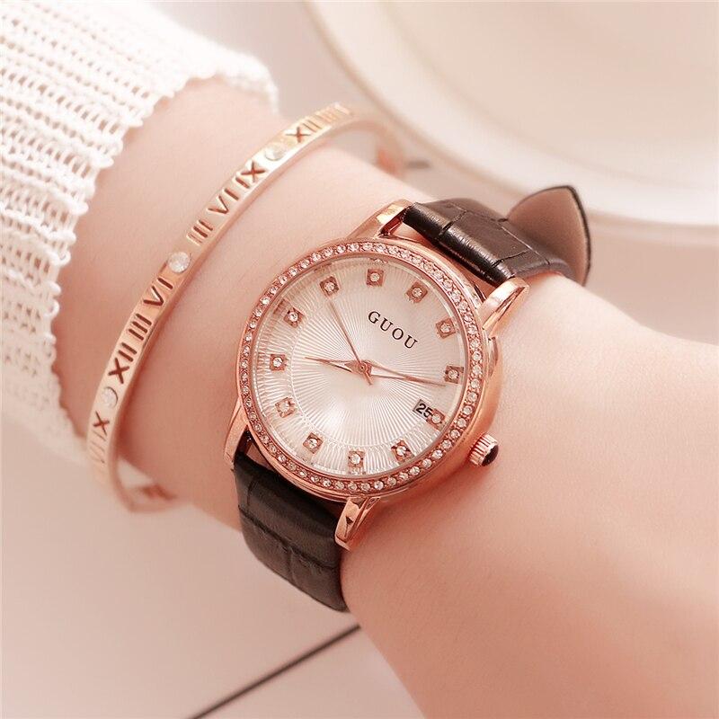 GUOU Watch Women Fashion Luxury Rhinestone Dial Ladies Rose Gold Leather Wrist Watch With Calendar Women Clock relogio feminino стоимость