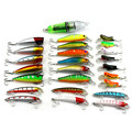 25 Pcs/Pack Mixed 4 Style Fishing Lures Set +Led Light Minnow Popper Grasshopper Insect Lure Artificial Bait Sea Fishing Tackle