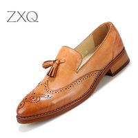 Fashion Men Brogues Loafers Shoes Moccasins Shoes Casual Men Shoes Flats Slip On Vintage Tassel Leather Shoes