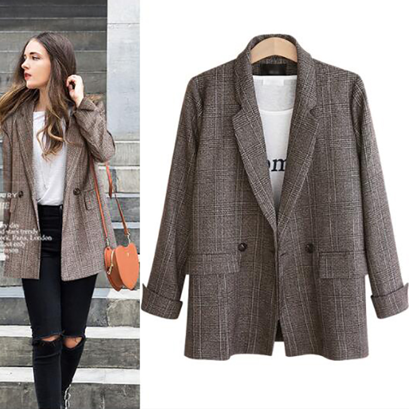 Hot Sale Autumn Winter Suit Blazer Women 2018 Formal Wool Blends