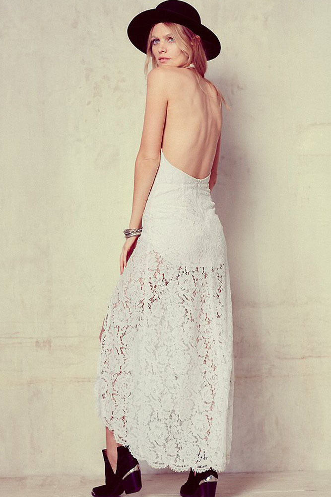 White lace backless maxi dress