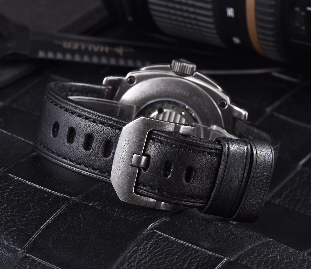 2016 Venta Caliente 43mm Parnis Automático Dial Negro Reloj de Plata - Relojes para hombres - foto 5