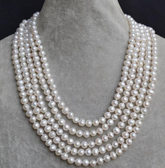 100 inches Long Pearl Necklace AA 7-8MM White Color Freshwater Pearl Necklace ,Wedding Pearl Jewelry,New Free Shipping white pink purple black pearl jewelry set aa 7 8mm 100