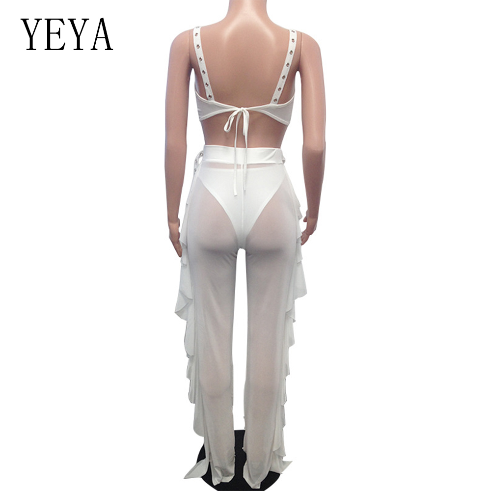 YEYA 3 Piece Set Pearl Beaded Ruffles Women Jumpsuits V Neck Sleeveless Hollow Out Mesh Bodycon Jumpsuit Sexy Club Wear Overalls in Jumpsuits from Women 39 s Clothing