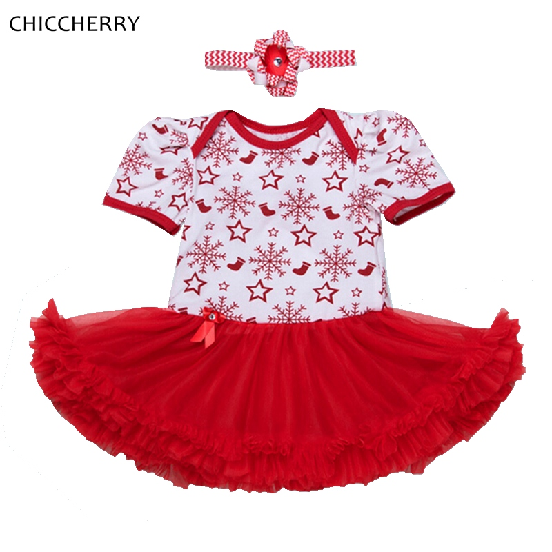 ჱStars & Snowflake Newborn Baby Girl Christmas Dress Headband ...