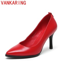VANKARING shoes 2016 summer new zapatos mujer superstar genuine leather pumps high quality pointed toe elegant shallow shoes