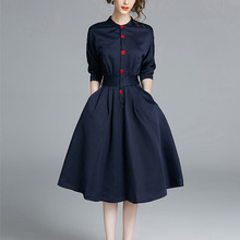 Ladies Spring Three-quarter Sleeves Waist Slim Shirt Dress недорого
