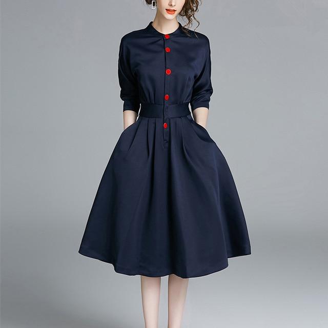 Ladies Spring Three-quarter Sleeves Waist Slim Shirt Dress