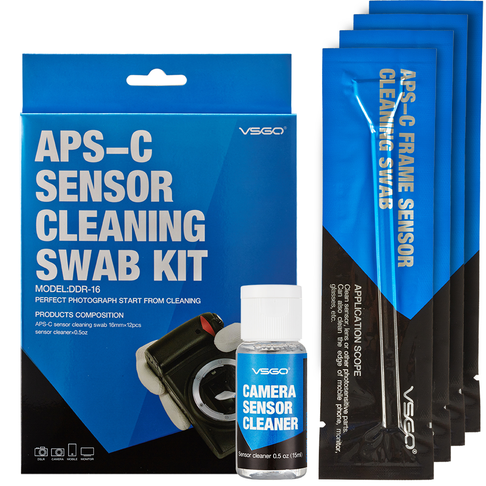 DSLR Kamera Sensor Rengjøringsvasker Kit 12 stk. Med Liquid Cleaner Løsning for Nikon Canon Sony APS-C Digitalkameraer