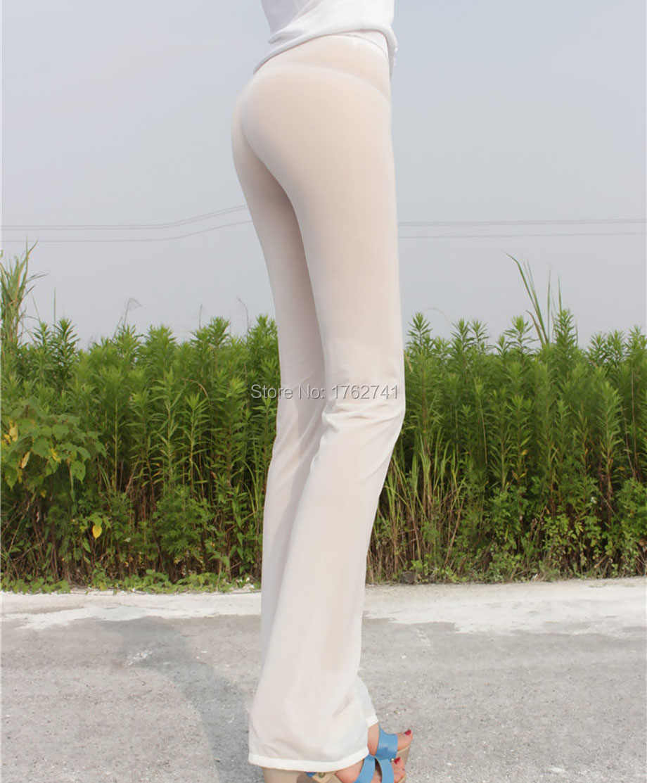 d2ddce5ccab5f9 ... Women's Super Sexy Semi See-Through Flare Pants Elastic Strecthy Slim  Fit Leggings Transparent Skinny ...
