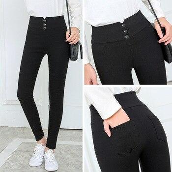 Women's black Pants Pencil Trousers 2018 Spring Fall Button pocke Pants Women Slim Ladies Jean Trousers Female High Waist Pants 1