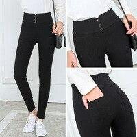 Женские черные брюки карандаш брюки 2018 весна осень пуговица pocke брюки женские тонкие джинсовые брюки женские брюки с высокой талией