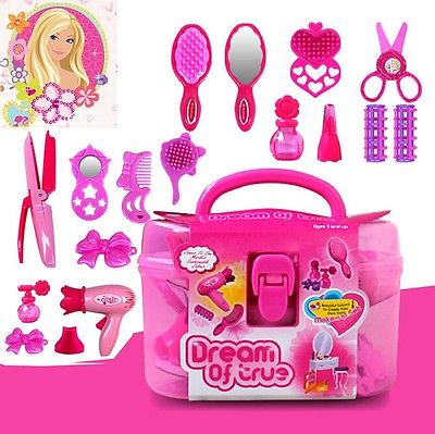 2017 Hot Girls Toy Vanity Beauty Cosmetic Bag Carry Case Hair Dryer Make Up Gift Set Pretend