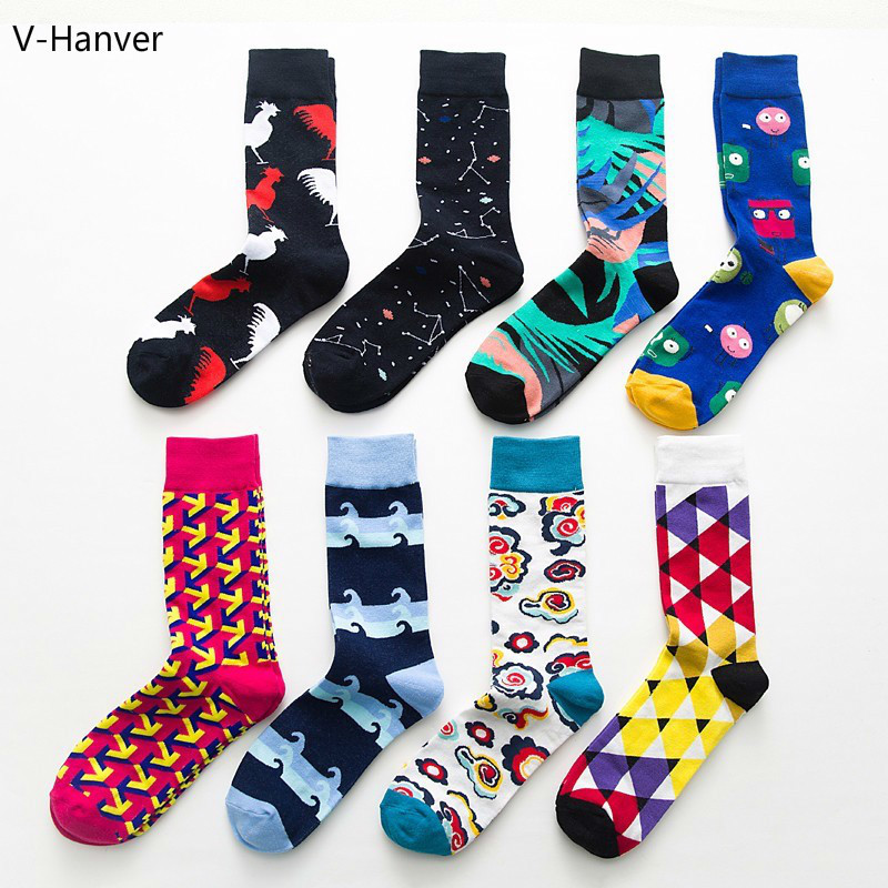 V-Hanver Fashion Colorful Happy   Socks   Unisex Cartoon Cloud Soft Breathable Rooster Cotton Stock Casual Funny Hosiery Male Women