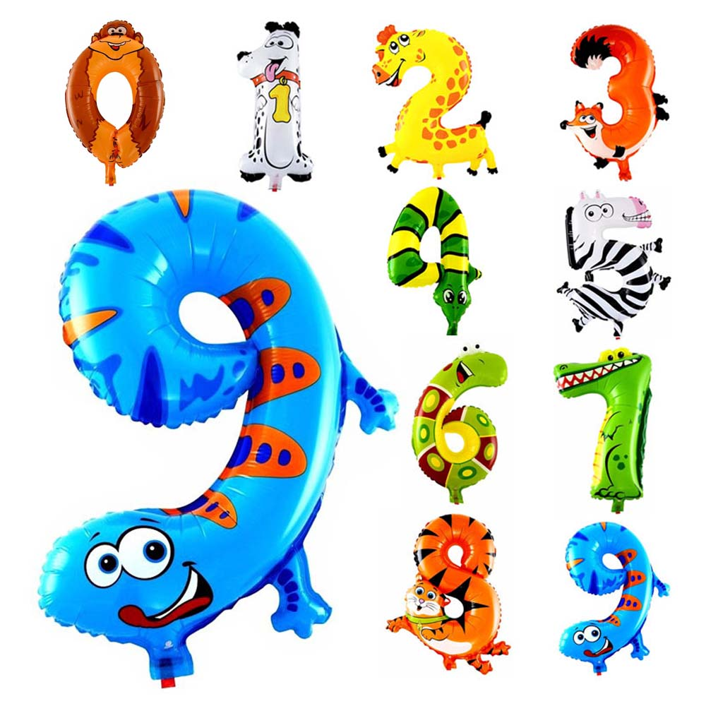1Pcs 16 Inch Animal Number Foil Inflatable Balloons Kids Party Wedding Happy Bir